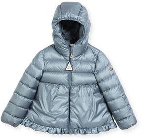 Moncler Odile Ruffle-Trim Puffer Jacket, Size 12M-3