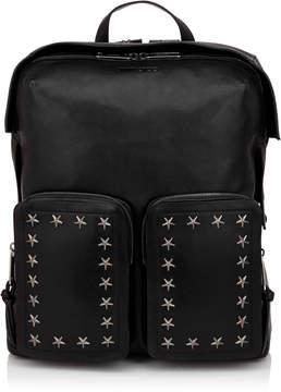 Jimmy Choo LENNOX Black Biker Leather Backpack with Stars