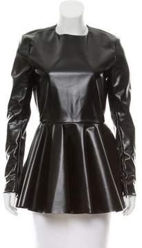 Celine Vegan Leather Flounce Top