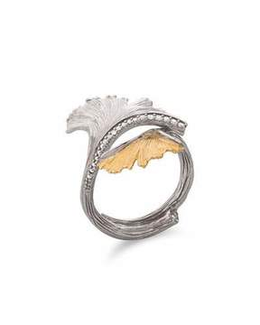 Michael Aram Gingko Double Leaf Ring with Diamonds