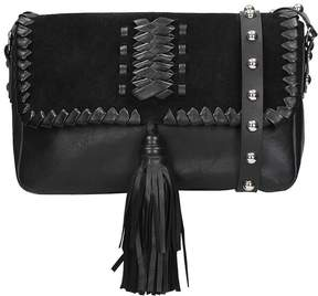 RED Valentino Leather And Suede Black Shoulder Bag