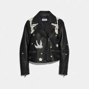 COACH COACH LACE EMBROIDERED LEATHER JACKET - BLACK