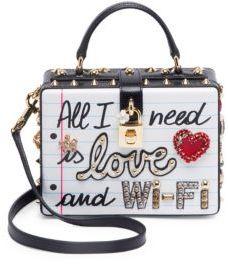 Dolce & Gabbana Graffiti Studded Shoulder Bag