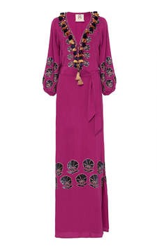 Figue Lola Embroidered Silk Dress