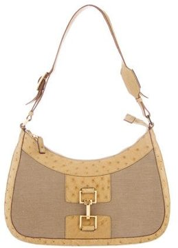 Gucci Ostrich-Trimmed Canvas Hobo - NEUTRALS - STYLE