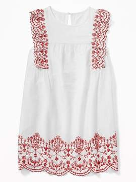 Old Navy Embroidered Ruffle Slub-Weave Swing Dress for Girls
