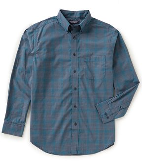 Roundtree & Yorke Superior Touch Long-Sleeve Windowpane Sportshirt