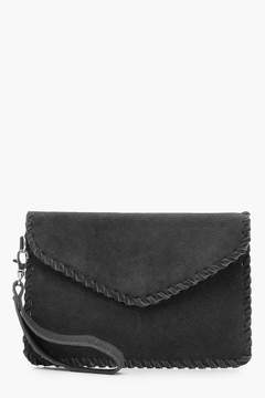 boohoo Real Suede Whipstitch Edge Envelope Clutch