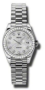 Rolex Lady-Datejust 26 Silver Jubilee Dial Platinum President Automatic Ladies Watch