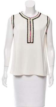 Andrew Gn Embroidered Silk Top