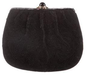 Judith Leiber Embroidered Suede Clutch