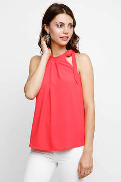 Collective Concepts Hi-Neck Tie Pleated Tank Top