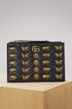 Gucci GG Marmont embroidered pouch with animal studs - BLACK - STYLE