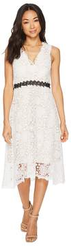 Donna Morgan Sleeveless Lace V-Neck Fit and Flare with Waist Detail Women's Dress