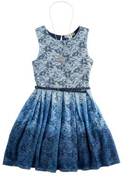 Knitworks Girls 7-16 Ombre Lace Belted Skater Dress with Necklace