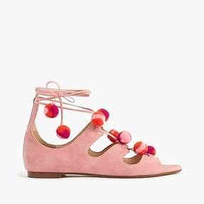 J.Crew Suede caged gladiator sandals with pom-poms