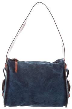 Hogan Leather-Trimmed Suede Shoulder Bag