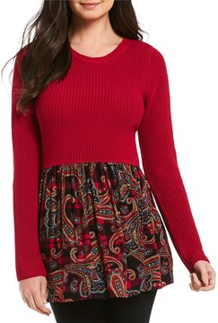 Westbound Petites Mix Media Sweater