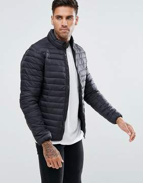 Pull&Bear Quilted Jacket In Black