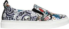 DSQUARED2 Tattoo Printed Leather Slip-On Sneakers
