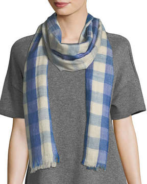 Eileen Fisher Hand-Loomed Fading Ikat Check Wool Scarf