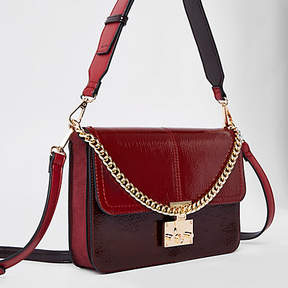 River Island Dark red lock front underarm bag