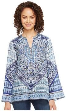 Hale Bob Beach Belle Silk/Cotton Voile Lace-Up Top Women's Clothing