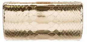 Michael Kors Metallic Embossed Leather Clutch - GOLD - STYLE