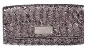 MICHAEL Michael Kors Metallic Woven Leather Clutch