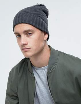 Asos Bobble Beanie In Gray
