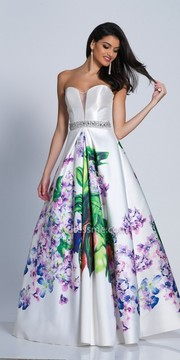 Dave and Johnny Sweetheart Satin Watercolor Ball Gown