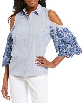 Gibson & Latimer Embroidered Sleeve Button Down Shirt