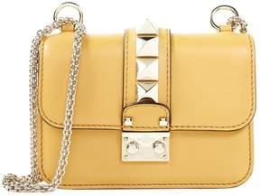 Glam Lock leather clutch bag