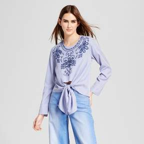 Cliche Women's Embroidered Tie Front Blouse Blue