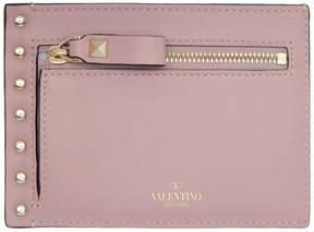 Valentino Pink Garavani Rockstud Zip Card Holder