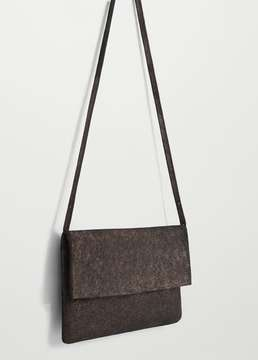 MANGO OUTLET Leather metallic bag