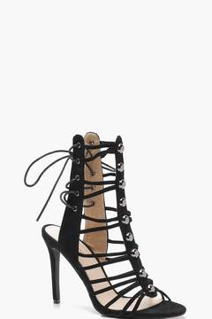 boohoo Cage Lace Up Back Gladiator Sandals