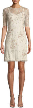Aidan Mattox Beaded Lace Short Cocktail Dress