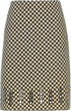 Bottega Veneta Vichy Cotton and Wool-Blend Embellished Skirt