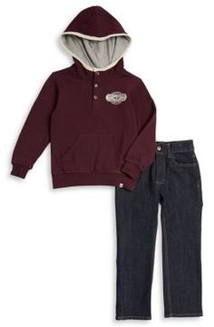 Lucky Brand Little Boy's Two-Piece Hooded Pullover and Classic Jeans Set