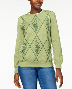 Alfred Dunner Pastel Skies Embellished Embroidered Quilted Sweatshirt
