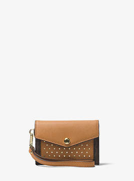 Michael Kors Honey Perforated Logo Wristlet - BROWN - STYLE