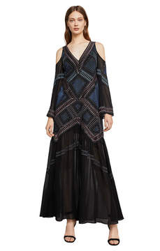 BCBGMAXAZRIA Daphne Embroidered Cold-Shoulder Gown