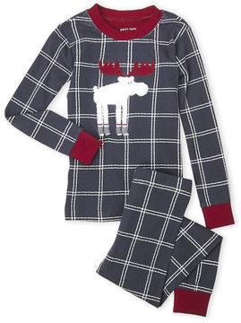Petit Lem Boys 8-20) Two-Piece Checkered Moose Tee & Pants PJ Set