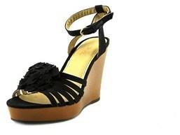 XOXO Raina Women Open Toe Canvas Black Wedge Sandal.