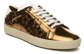 Saint Laurent Men's Leather Signature Court Classic Sneaker Shoes Gold.