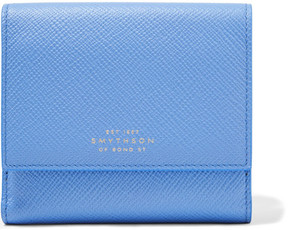 Smythson - Panama Textured-leather Wallet - Sky blue
