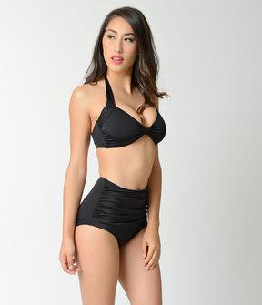 Esther Williams Retro Style Black Swim Top