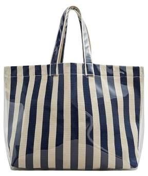 MANGO Striped shopper bag