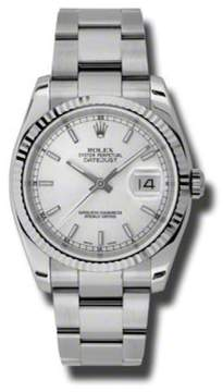 Rolex Datejust Steel and White Gold Silver Stick Dial 36mm Watch